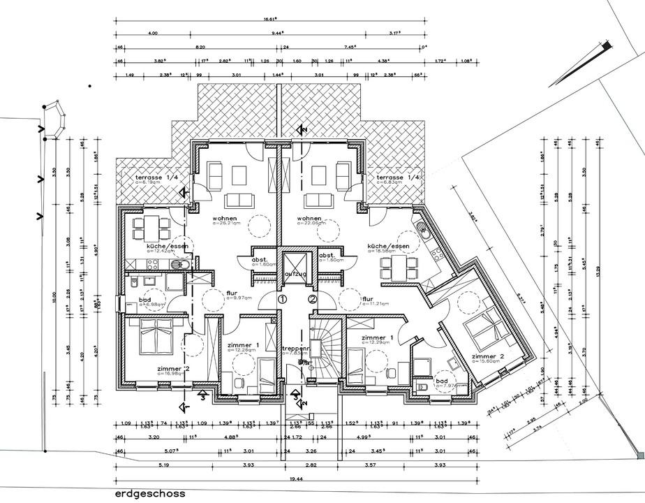 EG. Whg. 1 u.  2 mit Terrasse